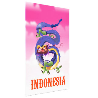 Indonesia Dragon retro travel poster Canvas Print