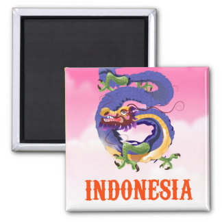 Indonesia Dragon retro travel poster Magnet