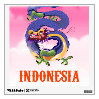 Indonesia Dragon retro travel poster Wall Sticker