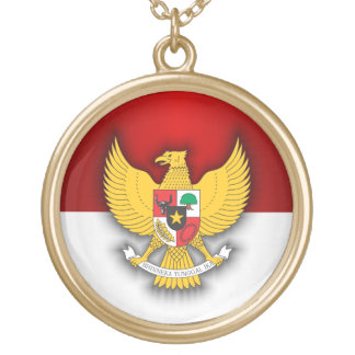 Indonesia Flag and Emblem Gold Plated Necklace