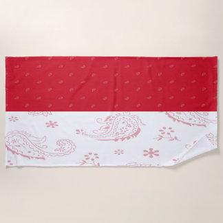Indonesia Flag Beach Towel
