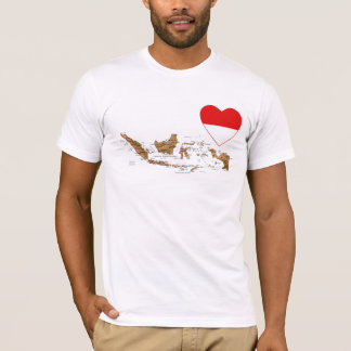 Indonesia Flag Heart and Map T-Shirt