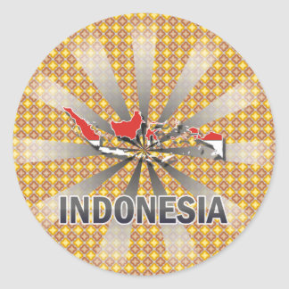 Indonesia Flag Map 2.0 Classic Round Sticker