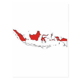 Indonesia flag map postcard