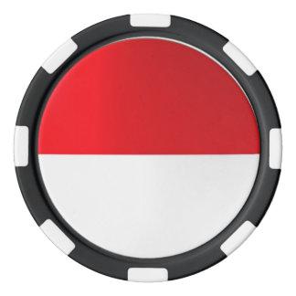 Indonesia flag poker chip set