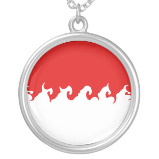 Indonesia Gnarly Flag Round Pendant Necklace