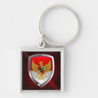 Indonesia Metallic Emblem Silver-Colored Square Keychain