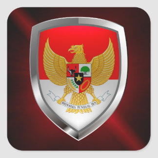 Indonesia Metallic Emblem Square Sticker