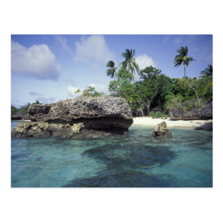 Indonesia. Rock formations along shore Postcard