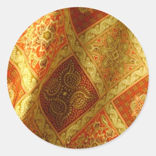 Indonesian Batik Round Stickers