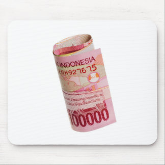 Indonesian currency rolled mouse pad