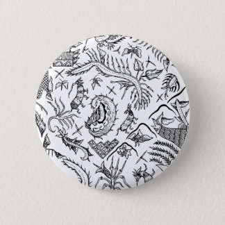 Indonesian Insects & Plants Textile Pattern 2 Inch Round Button