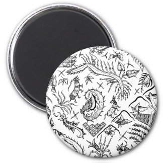Indonesian Insects & Plants Textile Pattern 2 Inch Round Magnet