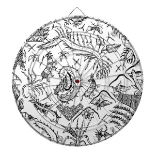 Indonesian Insects & Plants Textile Pattern Dartboard