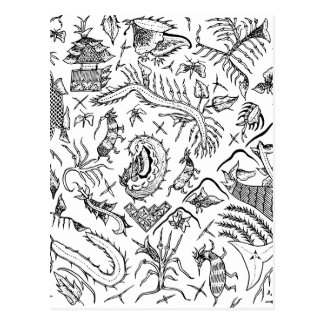 Indonesian Insects & Plants Textile Pattern Postcard