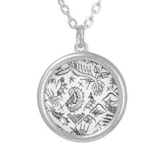 Indonesian Insects & Plants Textile Pattern Silver Plated Necklace