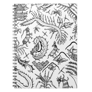 Indonesian Insects & Plants Textile Pattern Spiral Notebook
