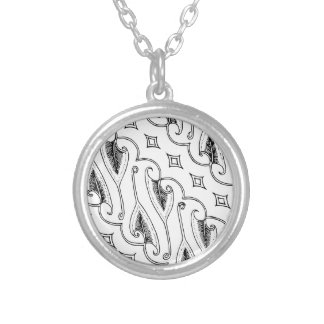 Indonesian Leaf Textile Pattern with Diamonds Silver Plated Necklace
