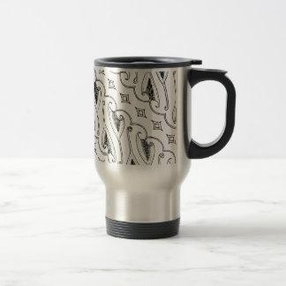 Indonesian Leaf Textile Pattern with Diamonds Travel Mug