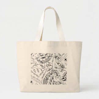 Indonesian Plants and Animals Textile Large Tote Bag