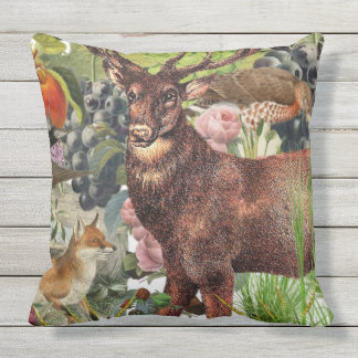 Indoor/Outdoor Fox+Stag Throw Pillow/Customizable Throw Pillow