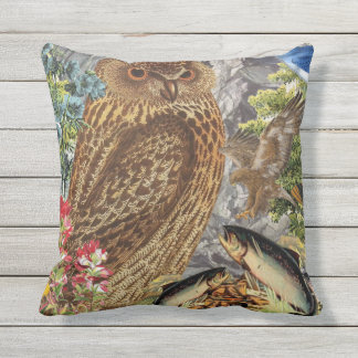 Indoor/Outdoor Owl Throw Pillow/Customizable Outdoor Pillow