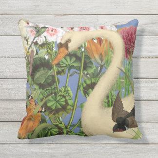 Indoor/Outdoor Swan Throw Pillow/Customizable Outdoor Pillow