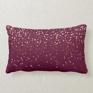 Indoor Petite Golden Stars Lumbar Pillow-Wine Lumbar Pillow