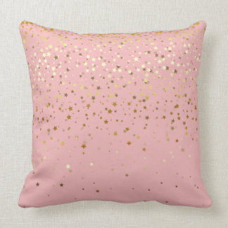 Indoor Petite Golden Stars Square Pillow-Carnation Throw Pillow