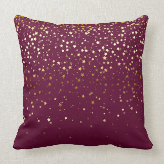 Indoor Petite Golden Stars Square Pillow-Wine Throw Pillow