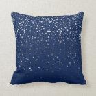 Indoor Petite Silver Stars Square Pillow-Dark Blue Throw Pillow