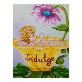 """INDULGE"" Precious Wings Fairy Postcard"