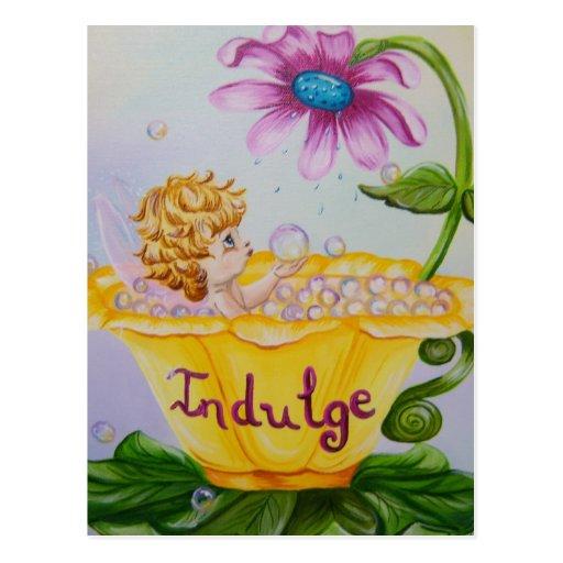 """INDULGE"" Precious Wings Fairy Postcard"