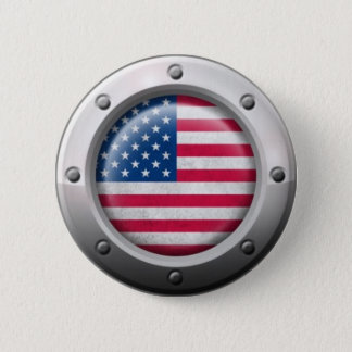 Industrial American Flag with Steel Graphic 2 Inch Round Button