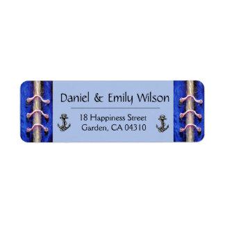 Industrial Anchor Royal Blue Abstract Design Return Address Label