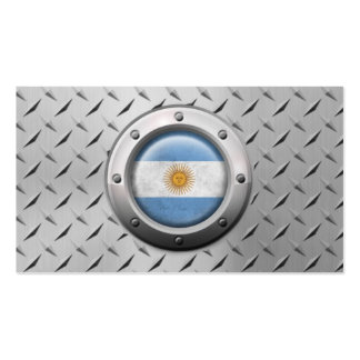 Industrial Argentinian Flag with Steel Graphic Business Card Templates