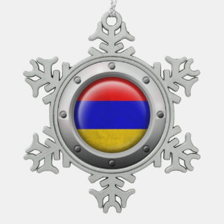 Industrial Armenian Flag with Steel Graphic Pewter Snowflake Ornament