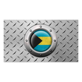 Industrial Bahamas Flag with Steel Graphic Pack Of Standard Business Cards