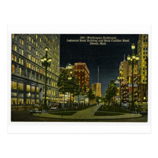 Industrial Bank Building and Book Cadillac Hotel Postcard