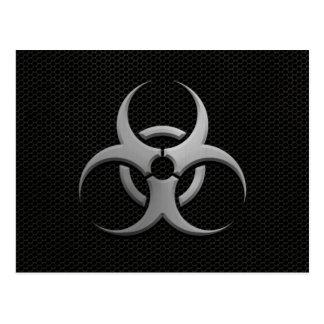Industrial Bio Hazard Symbol with Steel Effect Postcard