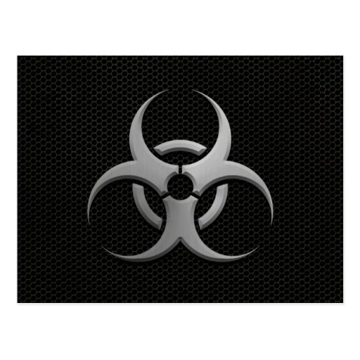 Industrial Bio Hazard Symbol with Steel Effect Postcards