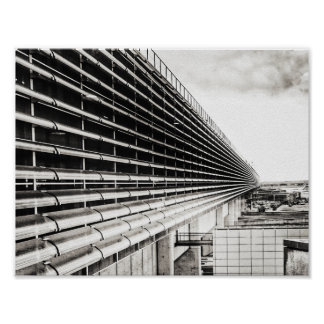 Industrial Building Black and White A4 Poster