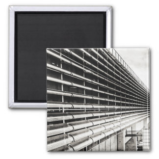 Industrial Building Black and White Magnet