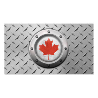 Industrial Canadian Flag with Steel Graphic Business Card