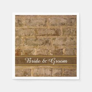 Industrial Chic Bricks Wedding Paper Napkins