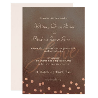 Industrial Chic Bronze Rose Wedding Card