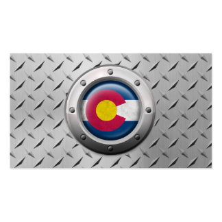 Industrial Colorado Flag with Steel Graphic Pack Of Standard Business Cards