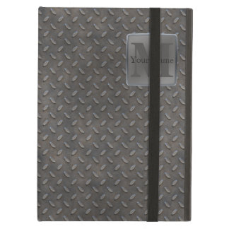 Industrial Diamond Cut Metal Look in Grey & Beige iPad Air Covers