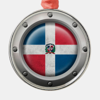 Industrial Dominican Republic Flag Steel Graphic Silver-Colored Round Ornament