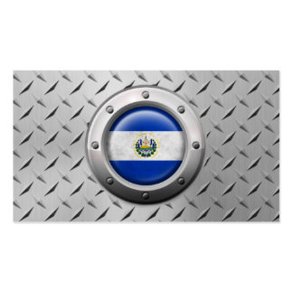 Industrial El Salvador Flag with Steel Graphic Business Card Template